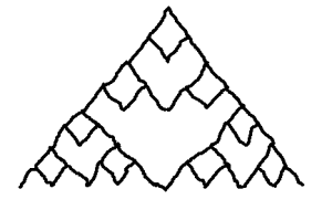 Step three for drawing a Sierpiński triangle.