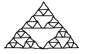 Step four for drawing a Sierpiński triangle.